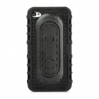 Protective Anti Slip Raised Dots Style Back Case w/ Stand for Iphone 4 / 4S - Black