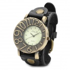 JINGYI PU Leather Band Analog Quartz Wrist Watch for Women - Black + Bronze