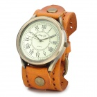 JINGYI Retro Men's Water Resistant Quartz Analogue Wrist Watch - Orange + Copper (1 x LR626)