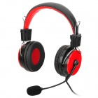 Hlyuin Y-700 Wired Stereo Bass Headphones w/ Microphone - Black + Red (3.5mm Plug / 2m)