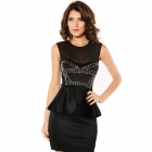 Fashionable Sexy Front Rivets Adornment Peplum OL Dress For Woman - Black (L Size)