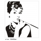 Aomei 0084 Audrey Hepburn Pattern Stylish PVC Wall Sticker - Black (53 x 58cm)