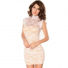 Fashionable Elegant Floral Mesh Lace Sheath Dress - White + Beige (Free Size)