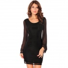 Stylish Sexy Long-Sleeve Round Collar Lace Dress For Woman - Black (Free Size)
