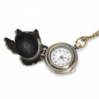 Retro Owl Style Quartz Digital Pocket Watch - Bronze (1 x 377)