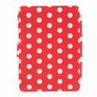 Polka Dots Pattern Protective PU Leather Case Cover for Amazon Kindle Paperwhite - Red + White