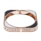Retro Simple Square Style Zinc Alloy Bracelet w/ Shiny Rhinestone - Black + White + Gold