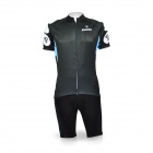 Kooplus Outdoor Cycling Short-Sleeved Jersey Suit - Black + White + Blue (Size XL)