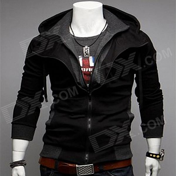 Fashionable Hitting Scene and Slim Fit Hooded Cardigan - Black + Grey - (Size-L)