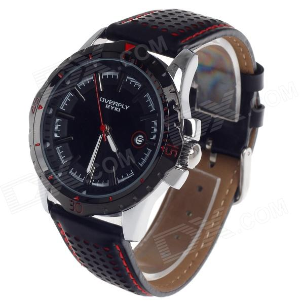 EYKI EOV8540G-SB Fashionable Men's Quartz Analog Wrist Watch - Black + White (1 x LR626) high quality 20mm 22mm 24mm leather watch strap man watch straps black brown gray stainless steel buckle thick line watch band