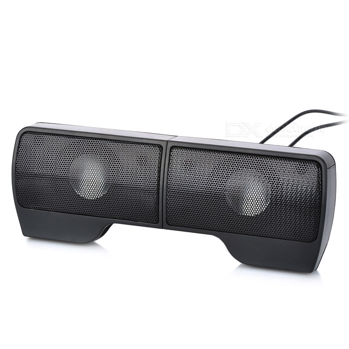 3.5mm Plug USB Powered Stereo Speaker for MP3 + Cell Phone + Laptop - Black mymei best price new portable 3 5mm pillow speaker for mp3 mp4 cd ipod phone white