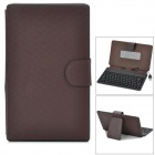 "Ultra Thin 80-Key Wired Silicone Keyboard w/ PU Leather Case for 7"" Tablet PC - Deep Brown"
