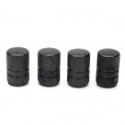 Universal Cylinder Aluminium Alloy Car Tire Valve Caps - Black (4 PCS)
