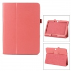 Two Section Folding Lichee Pattern PU Leather Case w/ Stand for Samsung Galaxy Tab 3 P5200 - Red