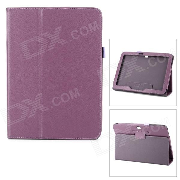Protective Flip Open Lambskin Case w/ Stand for Samsung Galaxy Tab 3 10.1 P5200 - Purple luxury flip stand case for samsung galaxy tab 3 10 1 p5200 p5210 p5220 tablet 10 1 inch pu leather protective cover for tab3