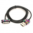 Rhinestone Decoration USB to 30-Pin Data / Charging Cable for iPhone 4 / 4S - Black (1m)