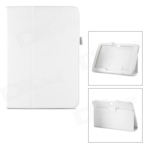 Protective Flip Open Lambskin Case w/ Stand for Samsung Galaxy Tab 3 10.1 P5200 - White protective flip open pu leather case w stand for samsung galaxy tab 3 p5200 p5210