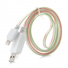 USB 2.0 to 8pin Lightning Data / Charging Cable for iPhone 5 - White + Green + Red (100cm)