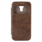 Protective PU Leather + PC Back Case Cover w/ Time Window for Samsung Galaxy S4 Mini i9190 - Brown