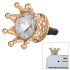 Crystal Crown Stil Anti-Staub-Stecker für 3,5 mm Audio Jack - Golden + Schwarz