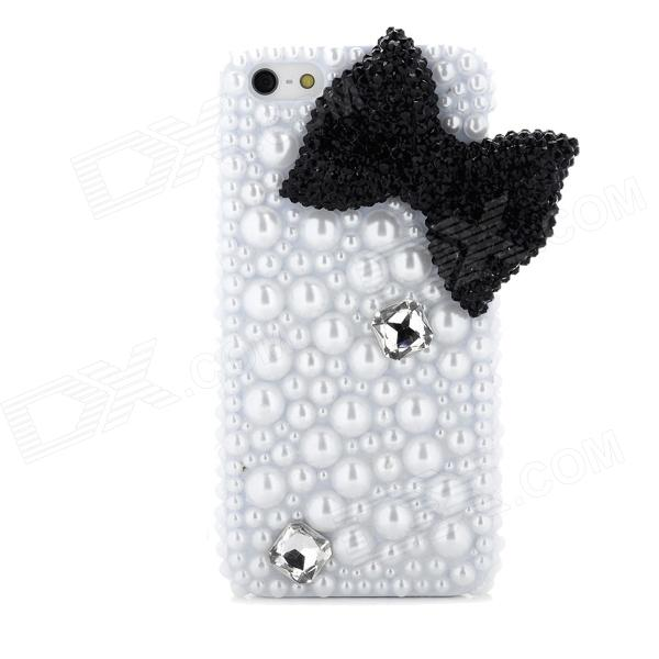 Black Bow w/ Artificial Pearls Style Protective Plastic Back Case for Iphone 5 - White + Black nillkin protective matte plastic back case w screen protector for iphone 6 4 7 golden