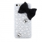 Black Bow w/ Artificial Pearls Style Protective Plastic Back Case for Iphone 5 - White + Black