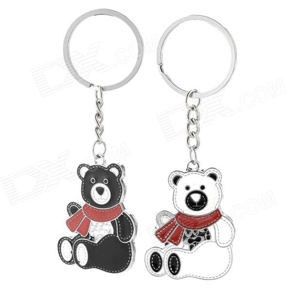 Cute Bear Lovers Style Zinc Alloy Keychain - Black + White + Red (2 PCS) cute cartoon cat lovers style zinc alloy keychain silver 2 pcs