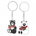 Cute Bear Lovers Style Zinc Alloy Keychain - Black + White + Red (2 PCS)