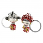 Bride and Groom Lovers Crystal Keychain - Red + Silver (2 PCS)