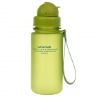 UZSPACE High-Quality Leak-Proof Frosted Colorful Bottle w/ Straw - Green (400mL)
