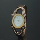 Elliptic Diamond Quartz Watch for Lady - Coffee Golden (1 x 377)