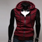 Men's Hooded Zipper College Style Knitted Vest - Wine Red (Size L)