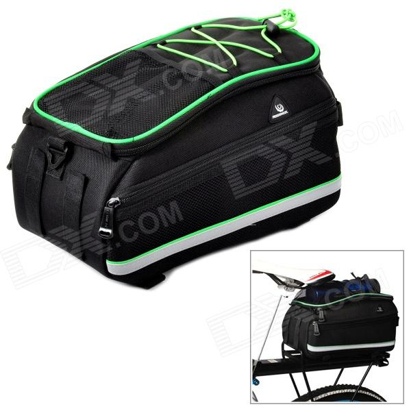 ROSWHEEL 14664 Outdoor Multifunction Cycling Polyester Bicycle Backseat Bag - Black + Green