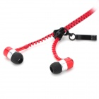 Mobaks HXT-2045 Zippered In-Ear Style Earphones - Red + Black (3.5mm Plug)