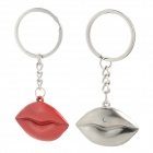 Creative Lip Style Zinc Alloy Couple Key Rings - Red + Silver (2 PCS)