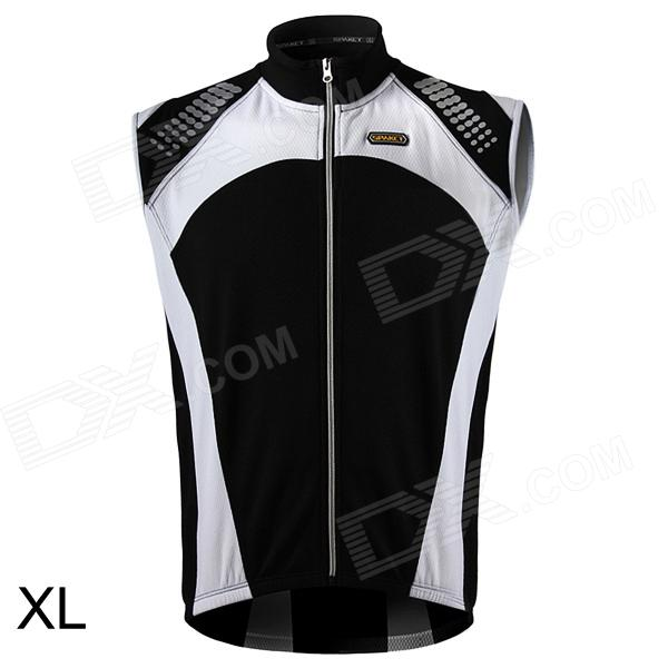Spakct CSY642 Cycling Brushed Polyester Fabric Sleeveless Zipper Vest for Men - Black + White (XL) spakct cool006 knuckle riding cycling gloves black white red xl 21cm
