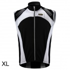 Spakct CSY642 Cycling Brushed Polyester Fabric Sleeveless Zipper Vest for Men - Black + White (XL)
