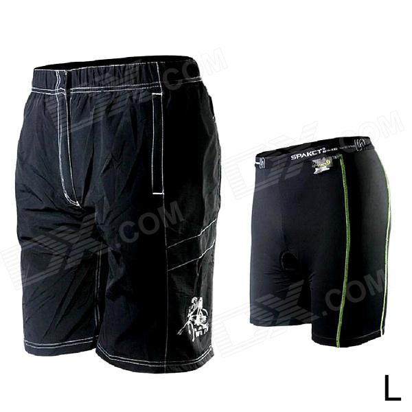 Spakct Outdoor Cycling Removable Two-layer Nylon Shorts for Men - Black (L)