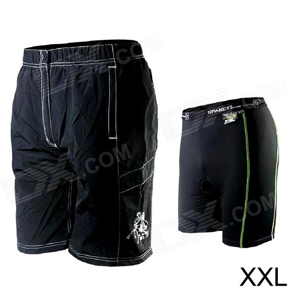 Spakct Outdoor Cycling Removable Two-layer Nylon Shorts for Men - Black (XXL)