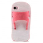 Protective 3D Slipper Shape Silicone Case for Iphone 4 / 4S - Deep Pink + White