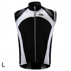 Spakct Outdoor Cycling Brushed Polyester Fabric Sleeveless Zipper Vest for Men - Black + White (L)