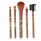 Xiumeiren 052 5-in-1 Leopard Pattern PC + Fiber Make-up Brushes - Yellow + Black + Chestnut Brown