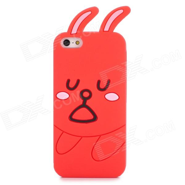 GGT Cute Rabbit Style Protective Silicone Back Case for Iphone 5 - Red cute marshmallow style silicone back case for iphone 5 5s yellow white