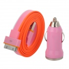 Car Charger Adapter + USB 30-Pin Lade-/ Datenkabel für iPhone 4S / 4 - Orange + Rosa + Weiß