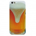 Creative Beer Pattern Plastic Back Case for iPhone 5 - Yellow + White