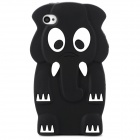 Protective Elephant Pattern Silicone Back Case for Iphone 4 / 4S - Black + White