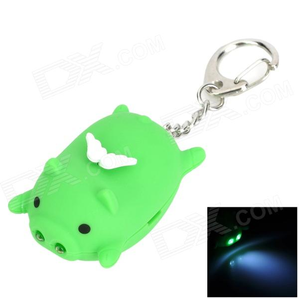 CS006-1 Cute Lying Pig Style 2-LED White Flashlight Keychain - Green (3 x AG10)