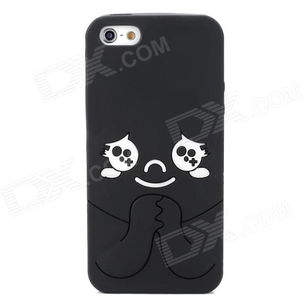Protective Cartoon Silicone Back Case for Iphone 5 - Black + White protective silicone case for nds black