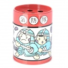 LX06285 Oil Drum Shaped Fireman Pattern Stainless Steel Ashtray / Pen Holder - Red + White + Blue
