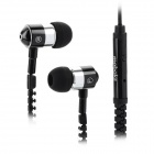 Mobaks HXT-2045 Zippered In-Ear Style Earphones - Black + Silver (3.5mm Plug)